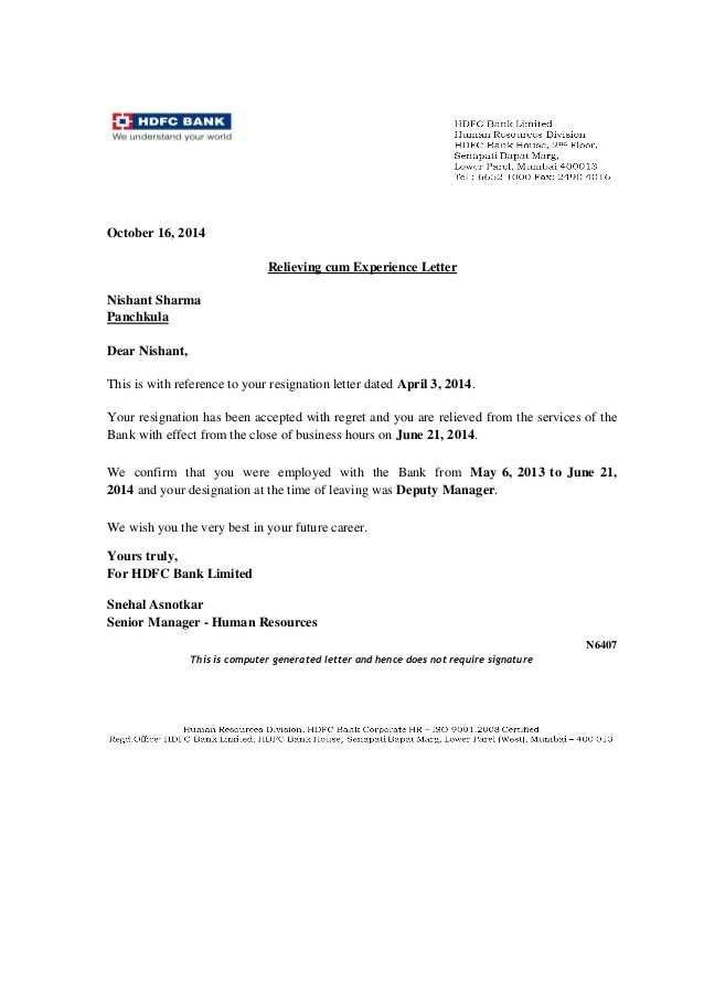 resignation letter template alberta  HDFC bank experiance certificate[1]