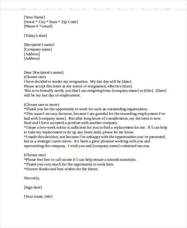 resignation letter template bad terms  Heartfelt Resignation Letter Template 7 Free Word Pdf ..