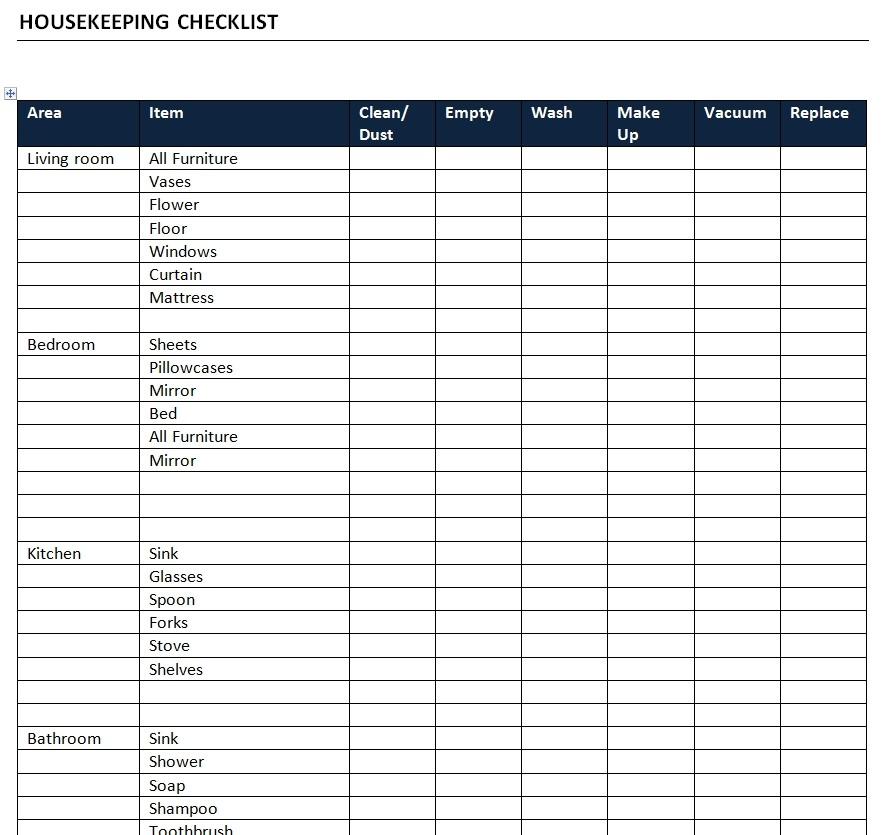 housekeeping checklist template  Housekeeping Checklist Template - housekeeping checklist template