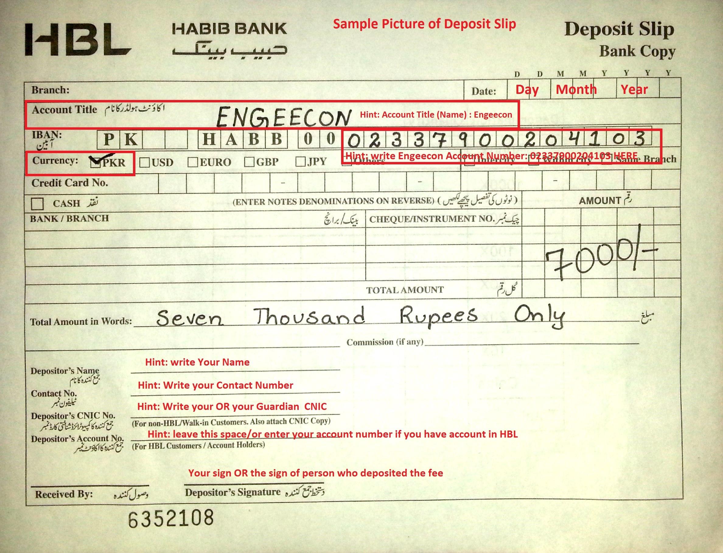 deposit slip of bank al habib  How to Get Admission – Engeecon Academy - deposit slip of bank al habib