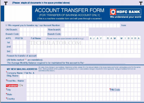 cheque deposit form of hdfc bank  How to transfer bank accounts from one branch to another - cheque deposit form of hdfc bank