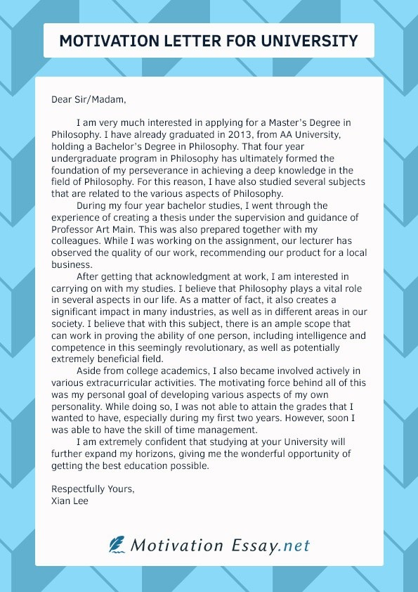 motivation letter example university  How to write a good motivation letter for university - Quora - motivation letter example university