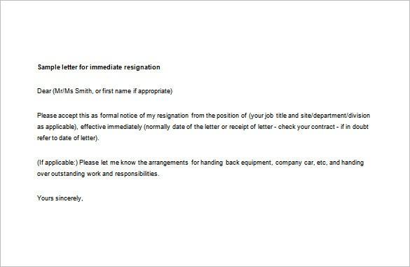 resignation letter template immediate effect  Immediate Resignation Letter Template - 7+ Free Word ..