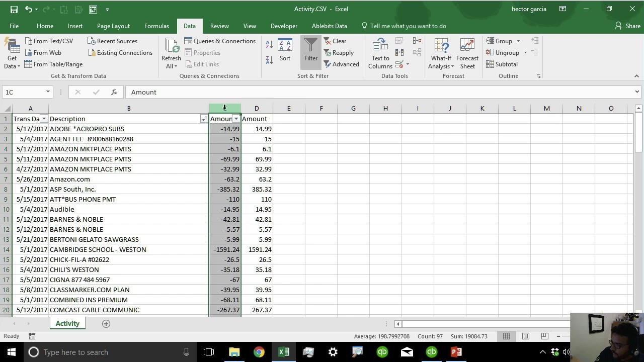bank of america bank statement template  Importing Bank Transactions into QuickBooks from PDF or ..