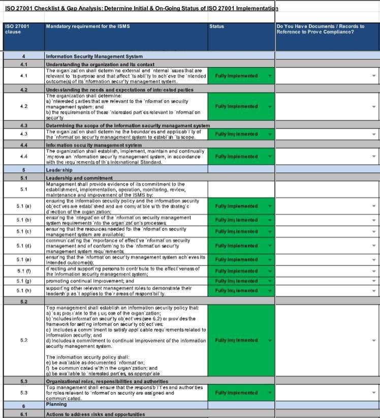 checklist template xls  ISO 27001 Checklist (Free PDF & XLS Downloads) | Pivot ..