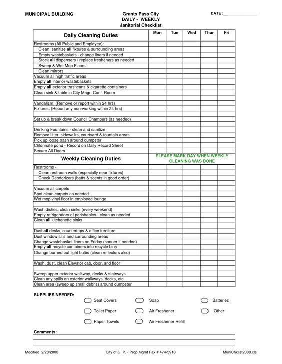 janitor checklist template  Janitorial Schedule Template Office Cleaning List ..
