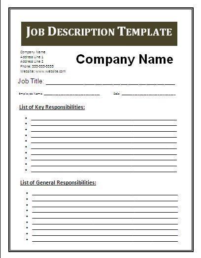 job description checklist template  job description template - Google Search   Job description ..