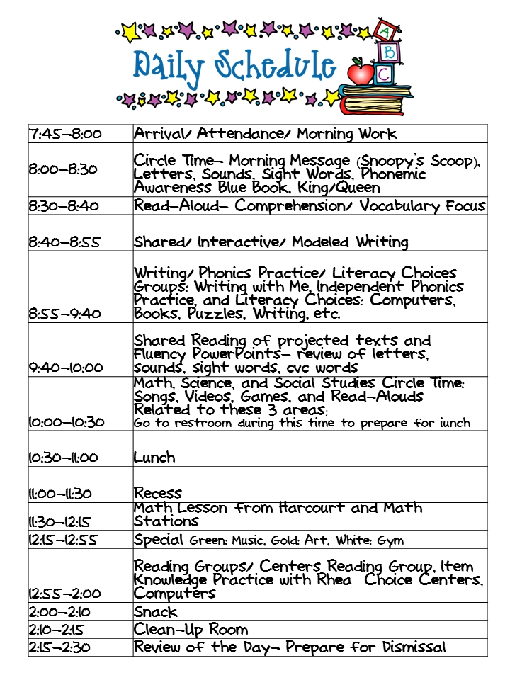 class schedule template kindergarten  Kindergarten Celebration: Daily Schedule - class schedule template kindergarten