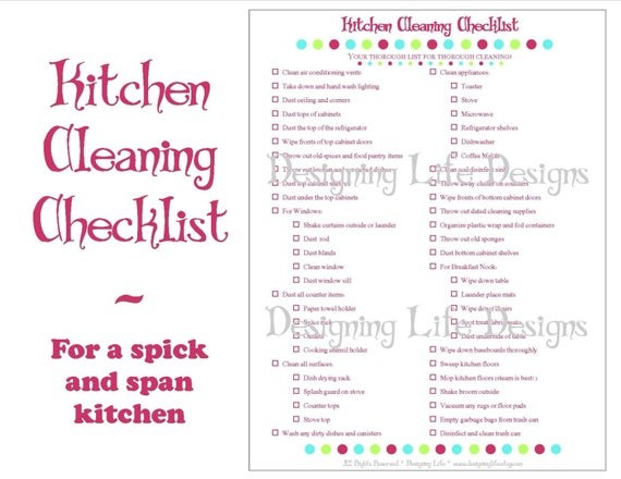 kitchen cleaning checklist template  Kitchen Cleaning Checklist PDF Printable Home Management - kitchen cleaning checklist template