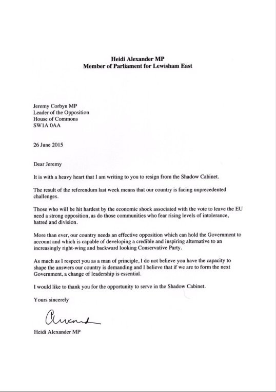 resignation letter template germany  Letter from MP Heidi Alexander to Jeremy Corbyn on Brexit ..