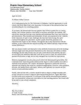 recommendation letter for teacher intern  Letter of Recommendation for an Intern | College ..