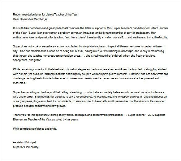 recommendation letter for teacher award  Letter of Recommendation for Teacher – 12+ Free Word ..