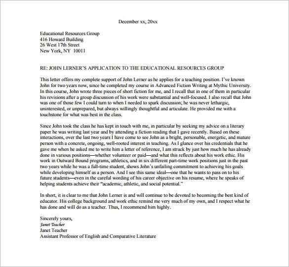 recommendation letter teacher colleague  Letter of Recommendation for Teacher – 9+ Free Word, Excel ..