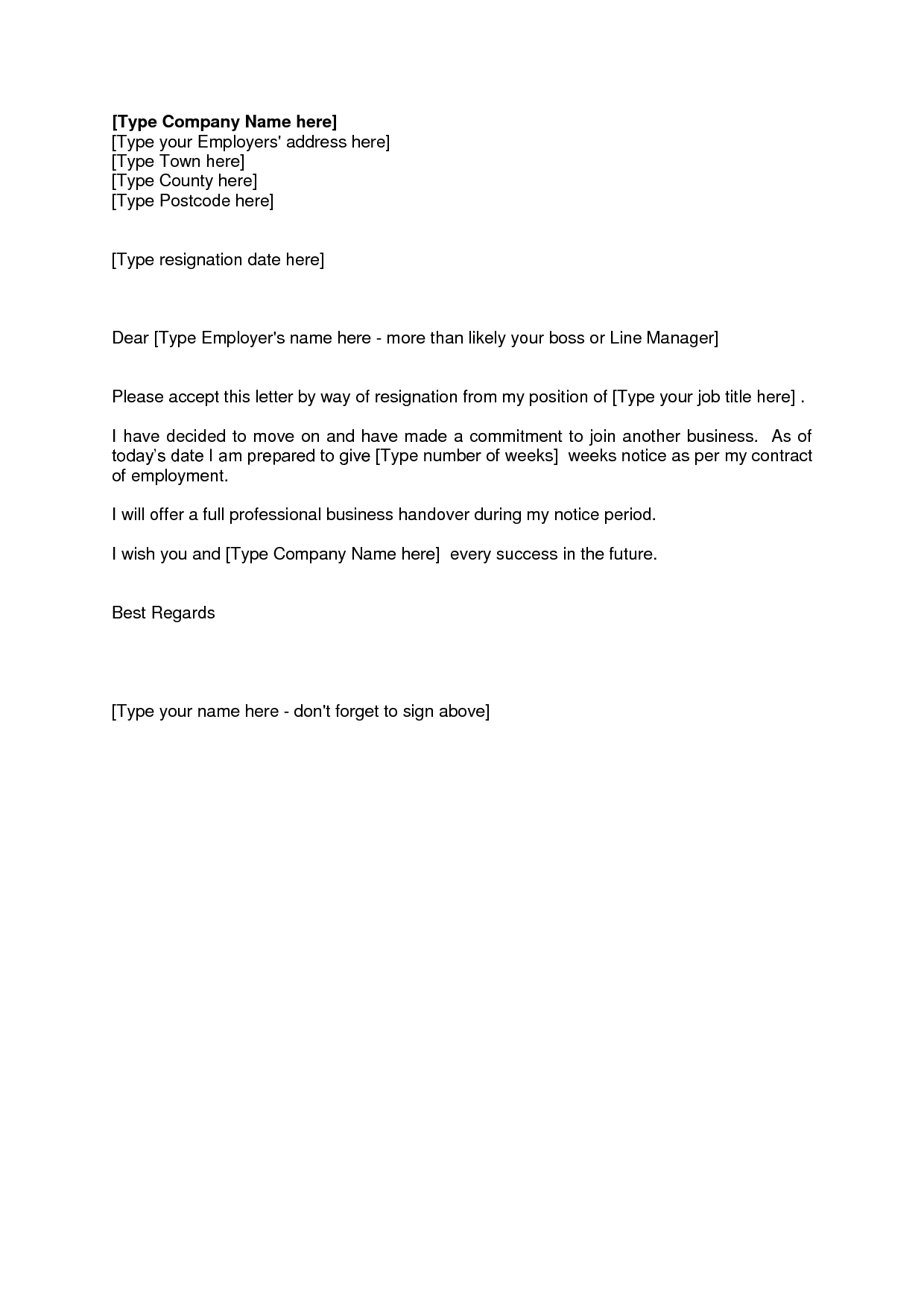 resignation letter template ireland  Letter Of Resignation Weeks Notice Template HDWriting A ..