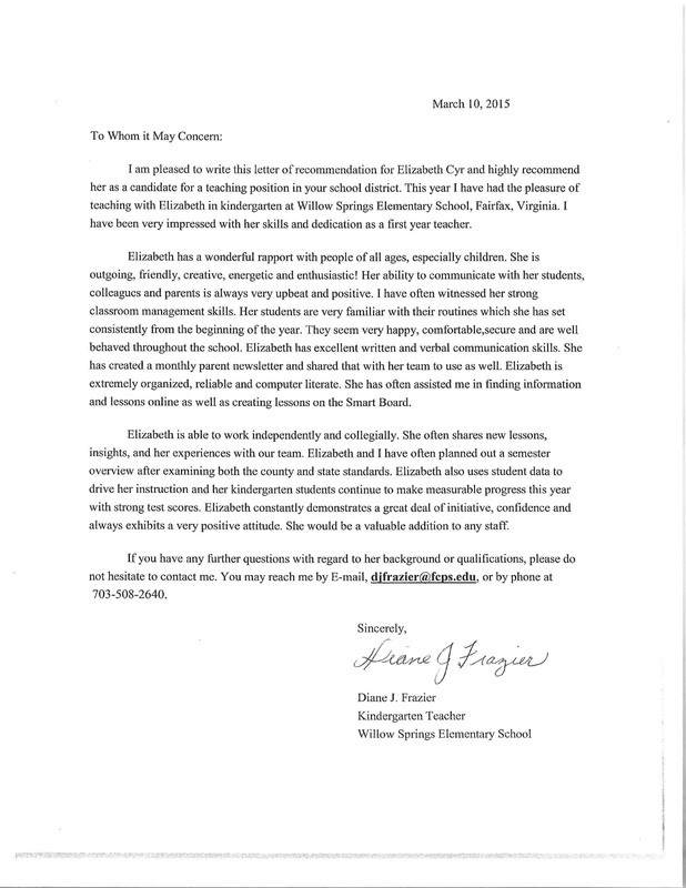 recommendation letter for kindergarten teacher from parent  Letters of Recommendation - Teach - recommendation letter for kindergarten teacher from parent