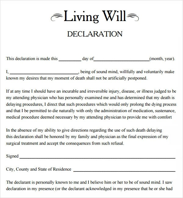 living will form free  Living Will Template - 8+ Download Free Documents in PDF - living will form free