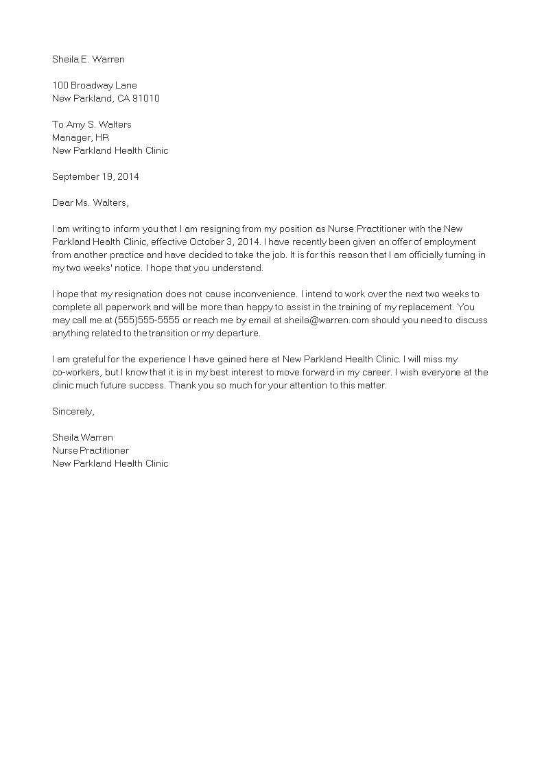 resignation letter template in word format  Nurse Practitioner Resignation Letter | Templates at ..