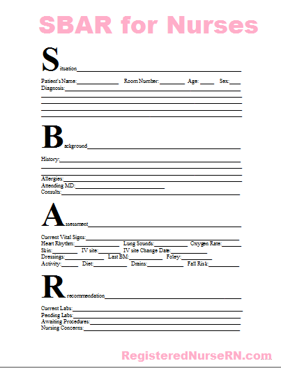 free sbar template for nurses  Nursing Report | Questions to Ask During Nurse Shift to ..