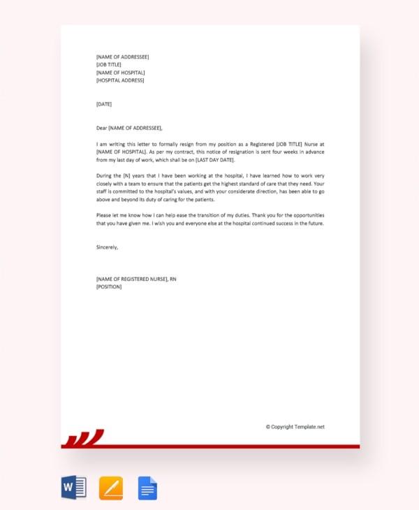 resignation letter template bad terms  Nursing Resignation Letter Template - 10+ Free Word, Excel ..