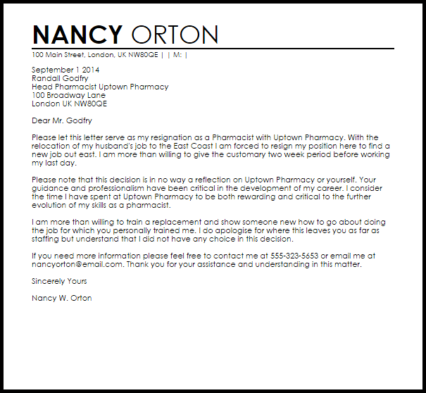 resignation letter template competitor  Pharmacist Resignation Letter Example | Letter Samples ..
