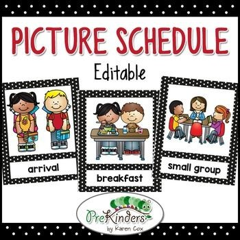 class schedule template for preschool  Picture Schedule Editable - Pre-K, Preschool | Preschool ..