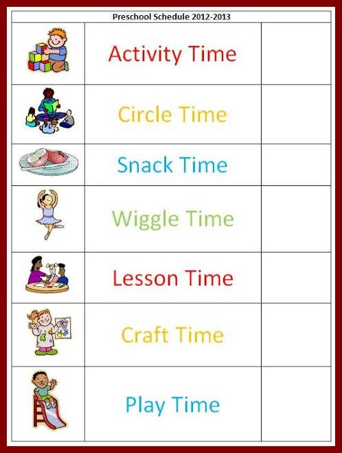 class schedule template for preschool  Pin Free Preschool Daily Schedule Template Tattoo Re ..