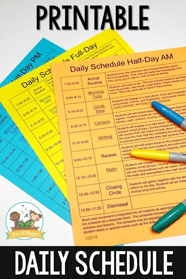 class schedule template for preschool  Preschool Daily Schedule and Visual Schedules - class schedule template for preschool
