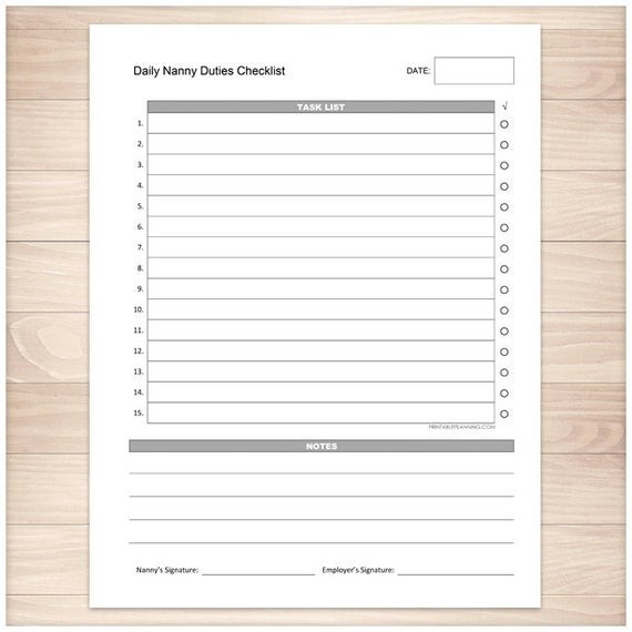 nanny duties checklist template  Printable Nanny Duties Checklist Daily Task List Nanny - nanny duties checklist template