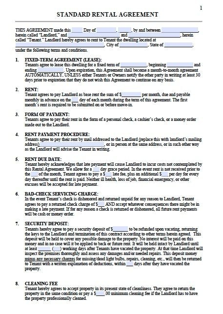 free tennessee rental agreement form  Printable Sample Residential Lease Agreement Template Form ..
