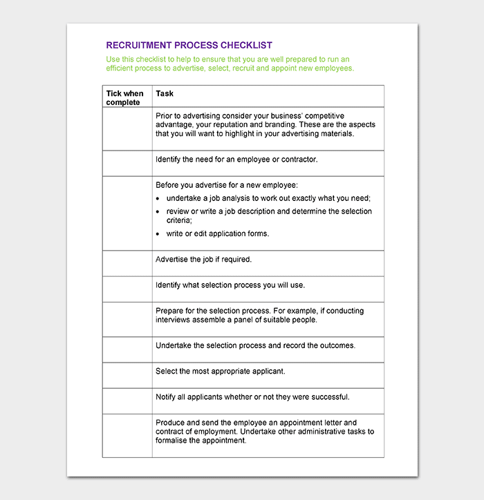 recruiting checklist template  Process Checklist Template - 20+ Editable Checklists ..