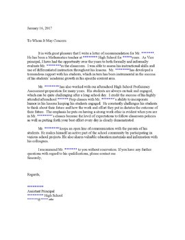 recommendation letter for teacher by principal  Recommendation Letter By Assistant Principal To Math ..
