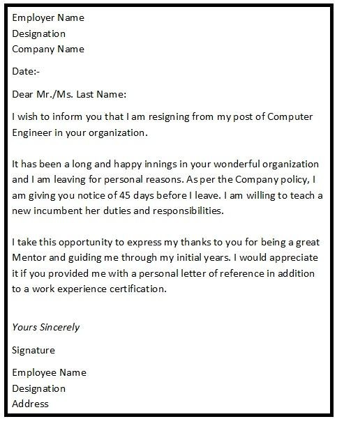 resignation letter template for further studies  Resignation Letter Format with reason describing the ..