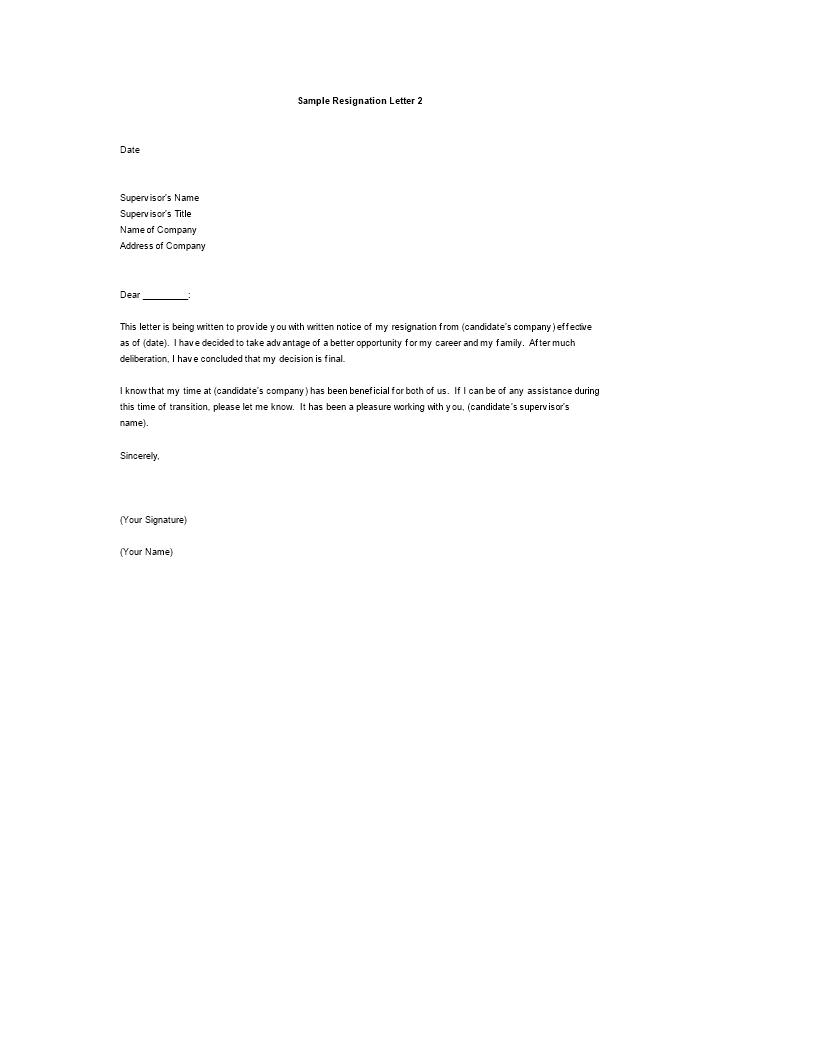 resignation letter template better opportunity  Resignation Letter Reason Better Opportunity | Templates ..