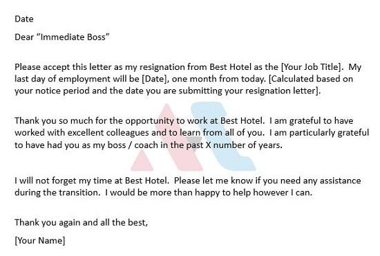 resignation letter template hospitality  Resignation Letter Template | AsiaHospitalityCareers.com ..