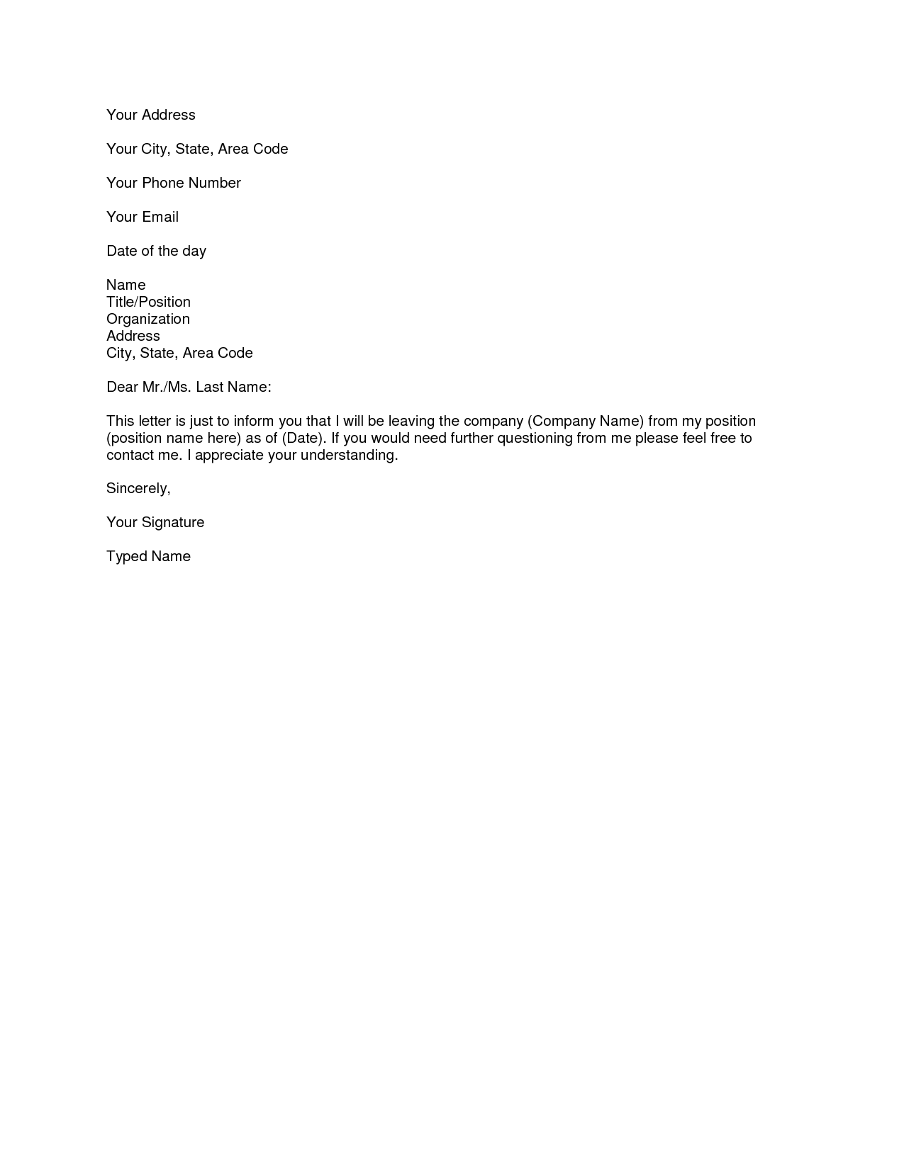 brief resignation letter template  Resignation Letters Download PDF, DOC Format - brief resignation letter template