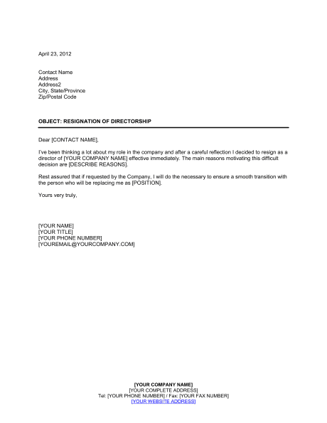 resignation letter template south africa  Resignation of Directorship Template – Word & PDF | By ..