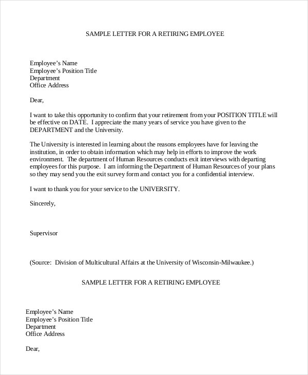 resignation letter template indeed  Retirement Letter Samples For Someone Retiring | Template ..