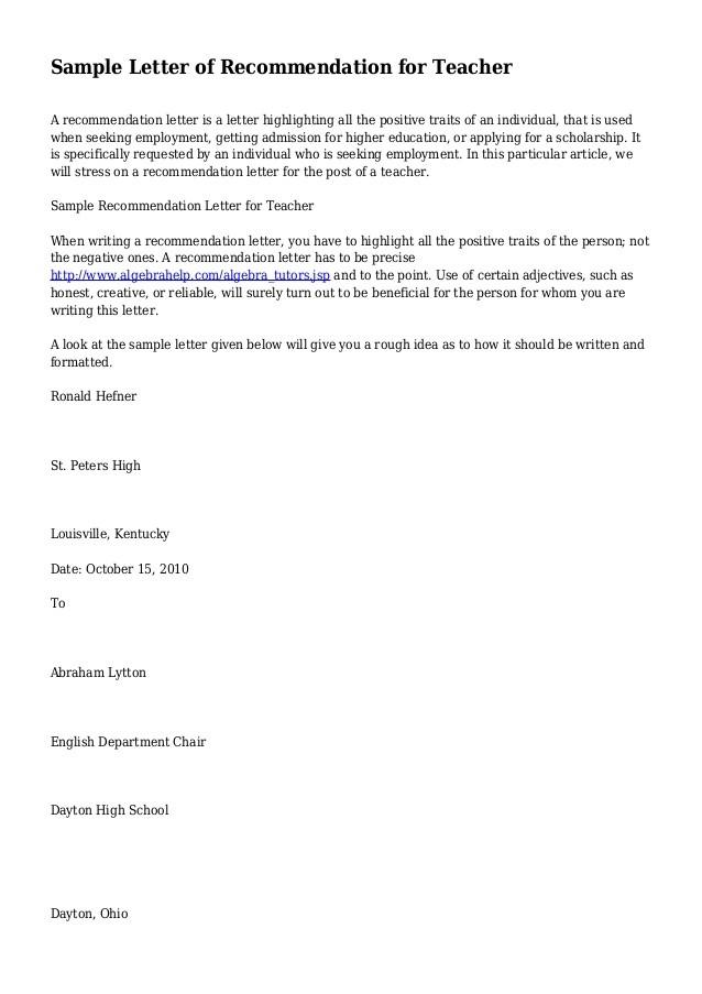 recommendation letter for teacher tenure  Sample Letter of Recommendation for Teacher - recommendation letter for teacher tenure