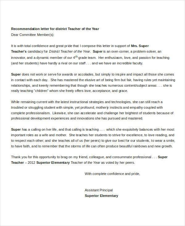 recommendation letter for teacher award  Sample Letters - 35+ Free Sample, Example, Format | Free ..