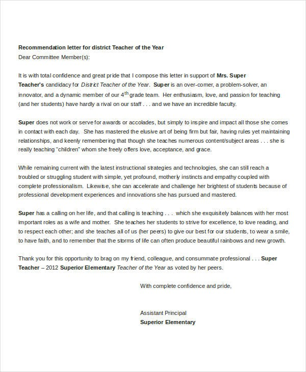 recommendation letter for teacher of the year  Sample Letters - 35+ Free Sample, Example, Format | Free ..