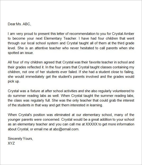 recommendation letter class teacher  Sample Letters of Recommendation for a Teacher - 9 ..