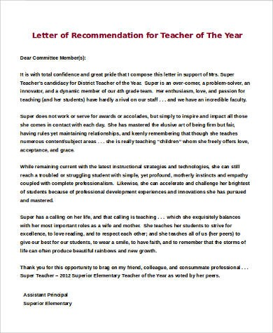 recommendation letter for teacher of the year  Sample Letters of Recommendation for a Teacher - 9 ..