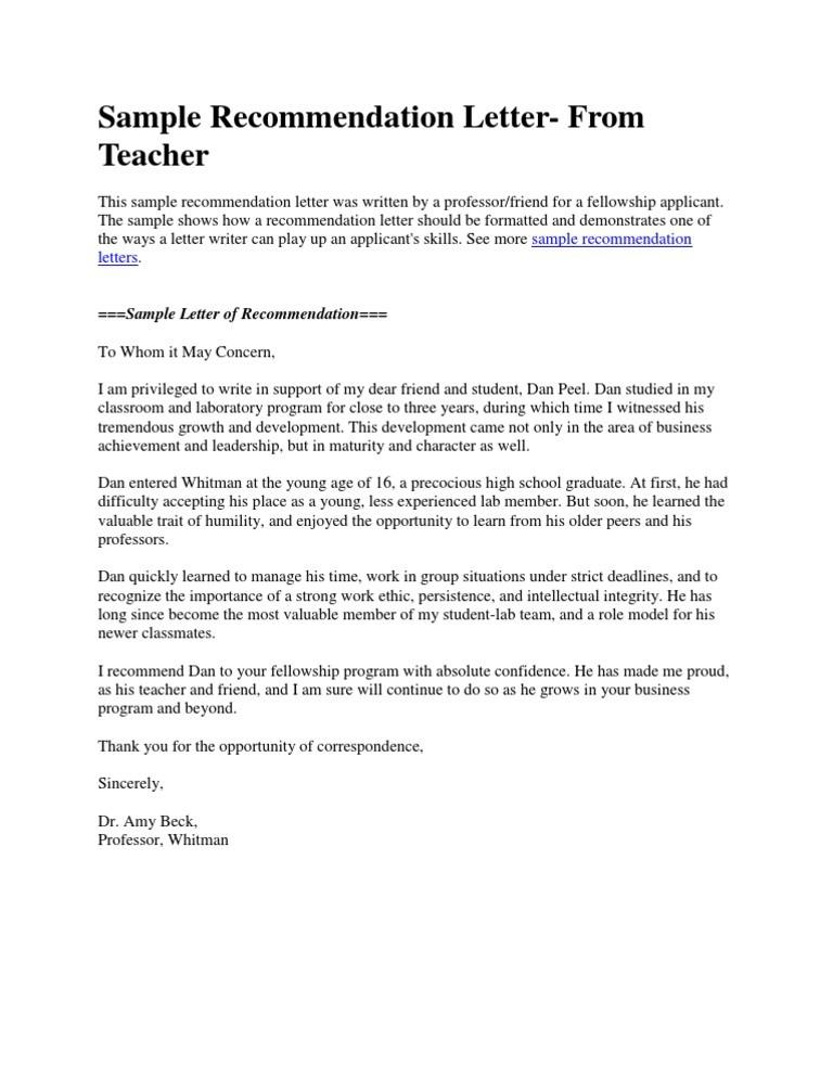 sample recommendation letter by teacher  Sample Recommendation Letter- From Teacher - DocShare