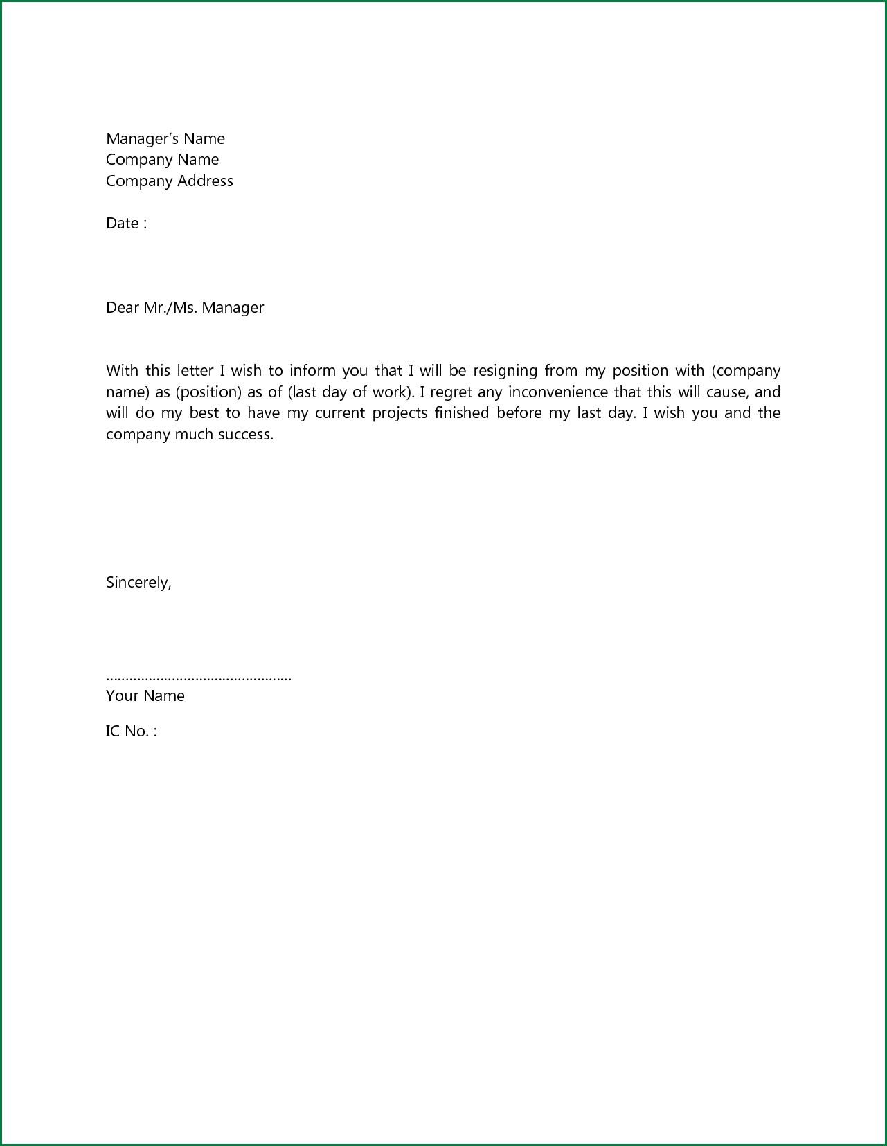 basic resignation letter template nz  Sample Simple Resignation Letter | scrumps - basic resignation letter template nz