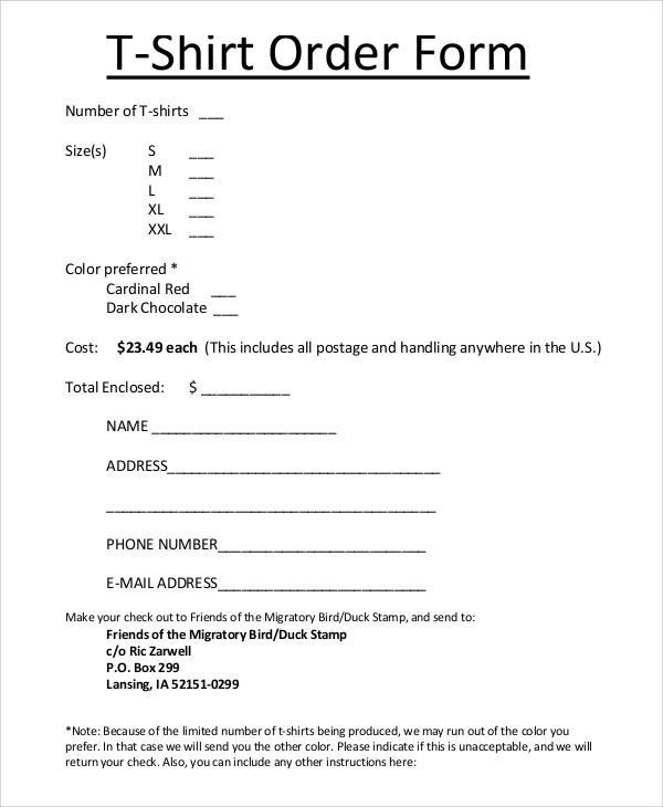 order form for shirts sample  Sample T Shirt Order Form - 11+ Examples in PDF, Word - order form for shirts sample