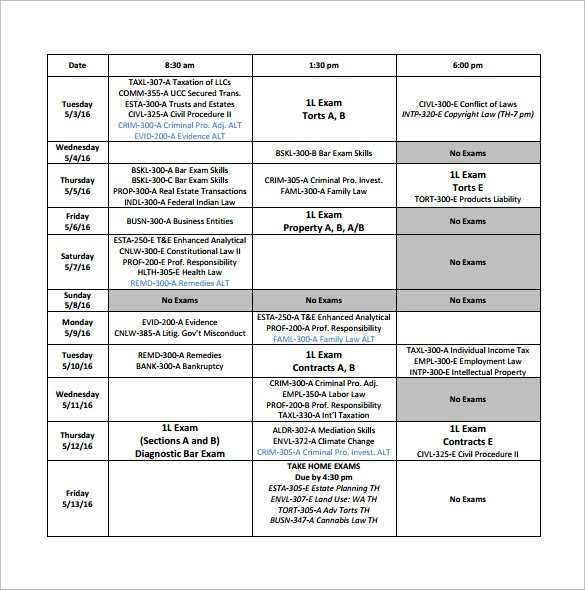 university schedule template why  Sample University Schedule - 8+ Documents in PDF - university schedule template why