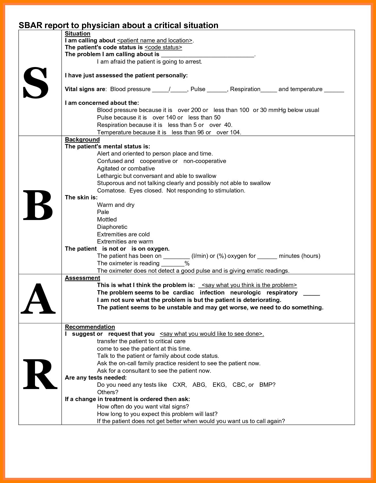 sbar example in nursing  sbar format - Google Search | Sbar nursing, Sbar, Charting ..