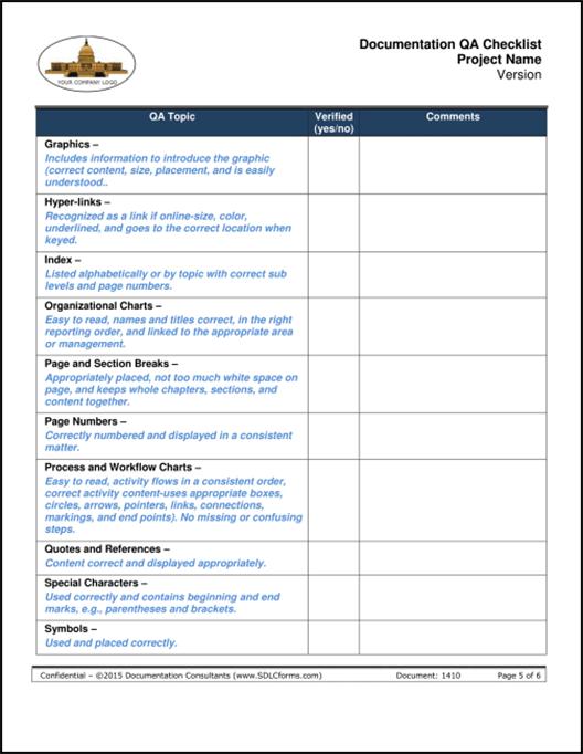 qa checklist template  SDLCforms Documentation QA Checklist Template - qa checklist template