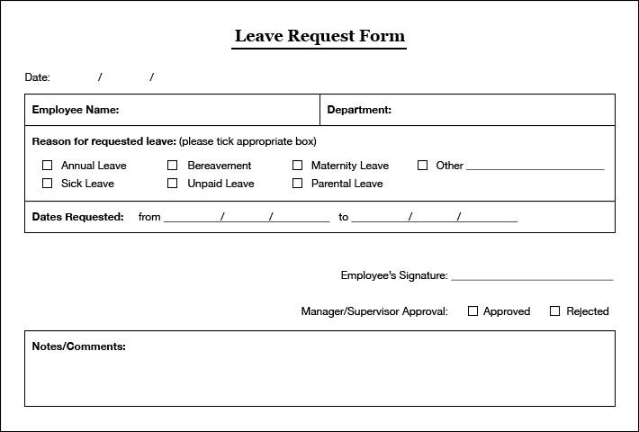 unpaid leave request form template  Simple Leaves Application Form Template - Excel Template - unpaid leave request form template