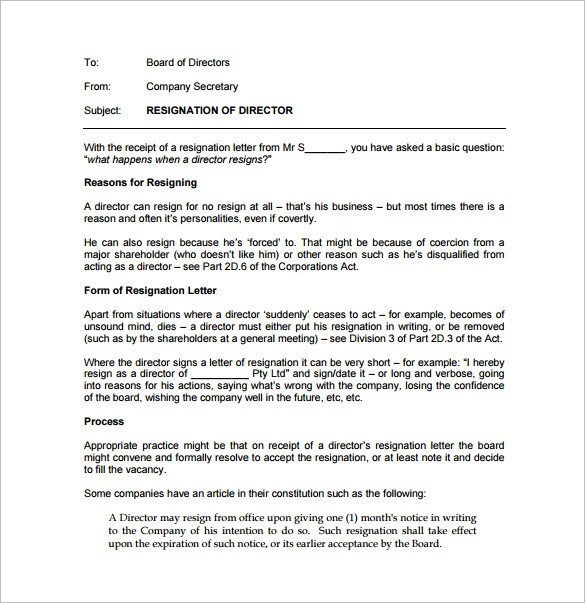 resignation letter template qld  Simple Resignation Letter Template – 15+ Free Word, Excel ..